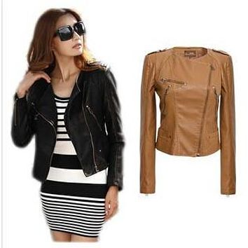 Women's PU Leather stand collar short leather jacket zipper slim coat  black and brown  jacket