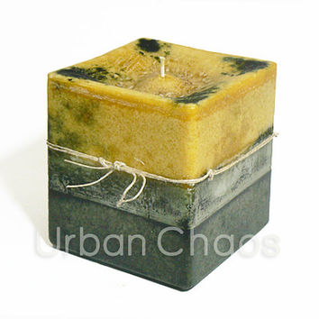 Pillar Candle 4x6 Square Large Pillar Rustic Candle Golden Honey & Dark Green Handmade Custom Candle - Scented Candles