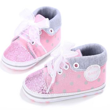 2017 glitter baby girl sequins canvas high cut lace up shoes sneakers anti slip soft s  number 1