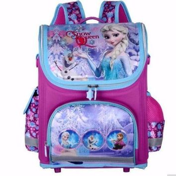 CREYCI7 Girls Butterfly School Bags Nylon Orthopedic Princess Elsa Backpacks for Primary Students Children Kids Bookbag Schoolbags