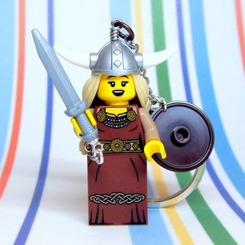 Viking Woman Keychain - made from Series 7 LEGO (r) Minifigure