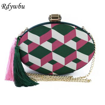 Rdywbu NEW Tassel Round Geometric Panelled Embroidered Handbag Womens Fringe Chain Bags Metal Clutches Ladies Wedding Party H148