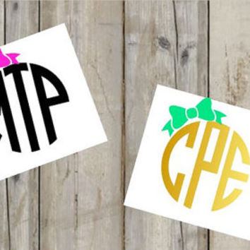 Bow Monogram Decal - Glitter - Any Color - Preppy - Cute - Perfect for YETI, Car and SO Much More! - Girly Monogram -  Custom Monogram -