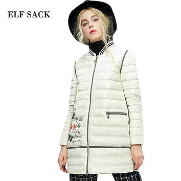 Elf SACK box winter female brief hemming color block print down coat