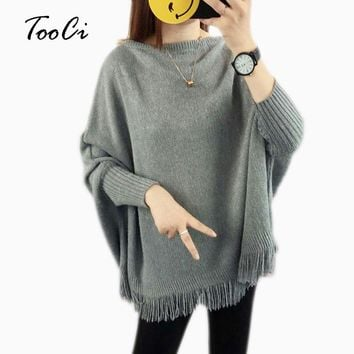 2018 Women Pullovers And Sweaters Loose Tassel Soft Shawl Poncho Women Slash Neck Bat Long Sleeve Pullover Sweater Shawl