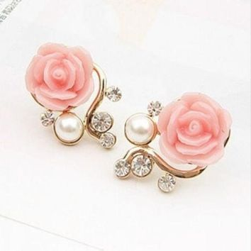 PEAPIX3 New Fashion 18K Gold Plated Cute Sweet Rose Shaped Artificial Pearl and Diamond Stud Earrings for Women Ladies Girls = 1933053316