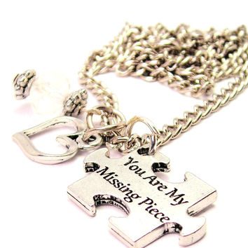 You Are My Missing Piece Puzzle Piece Necklace with Small Heart