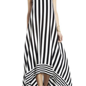 Gia Silk High-Low Striped Dress - Black