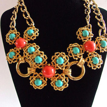 CASTLECLIFF Turquoise Coral Cabochon Necklace, Gold Tone, Signed Vintage