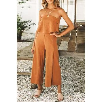 Strapless Wide Leg Solid Casual Ruffles High Jumpsuit