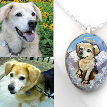 Custom Pet Jewelry, Angel Pet Necklace, Charm Pendant, Personalized Keepsake, Hand Painted Rock, Pet Memorial, Cat Painting, Dog Portrait