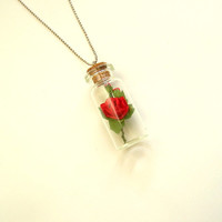 Romantic Mini Tube Necklace, Glass Vial, Test Tube Necklace, Red and pink Rose Jewelry
