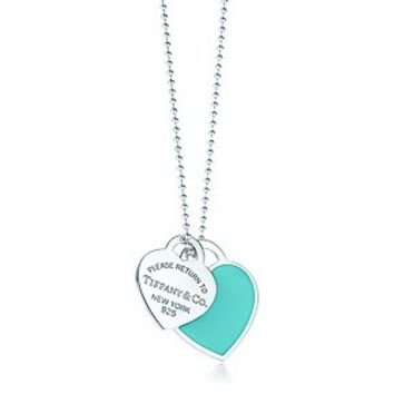 Tiffany & Co. -  Return to Tiffany™ large double heart tag pendant in silver with enamel finish.