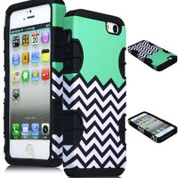 Bastex Black Silicone/Hard Sky Blue, Mint, Teal and White Chevron Pattern Hybrid Case
