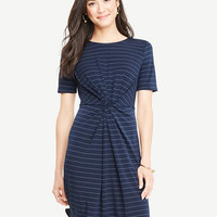 Petite Pinstripe Knotted Tee Dress | Ann Taylor