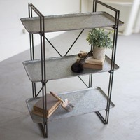 Three Tiered Metal Shelving Unit