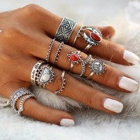 Sunrise Sunset Collection Boho Midi-Knuckle Rings Set of 14