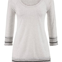 Contrast Knit Bottom Tunic Tee