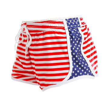 Red, White and Bootyful American Flag Silky Running Shorts