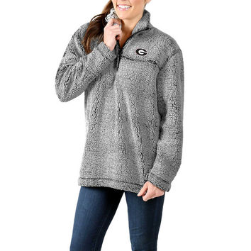 Georgia Bulldogs Women's Sherpa Super Soft Quarter-Zip Pullover Jacket - Gray
