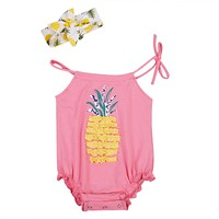 2Pcs Pineapple Newborn Baby Girl Lace Belt Jumpsuit Sleeveless Romper Outfit Clothes Headband
