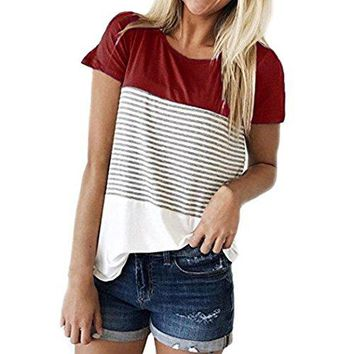 TOOPOOT 2018 Lady Blouse,Women's Short Sleeve Crop Jumper Pullover Casual Striped Printing Tops