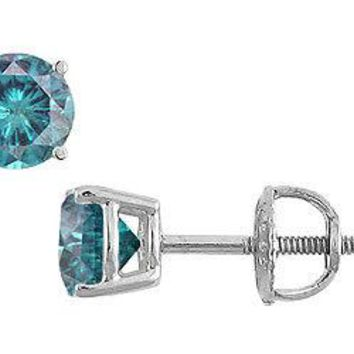 Blue Diamond Stud Earrings : 14K White Gold - 1.00 CT Diamonds