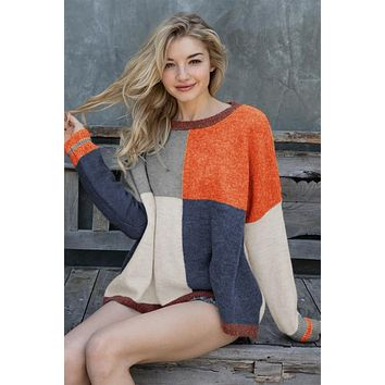 New Fall Women's Multi Color Block Thick Knit Oversize Sweater