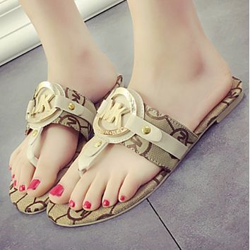 MK 2018 new wild wear tide flat fashion word support shoes flip-flops F0806-1 Beige