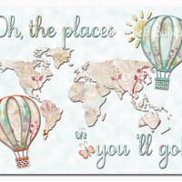 Pastel nursery wall art cream mint map colorful baby girl room decor toddler artwork kids decoration oh the places you 'll go poster