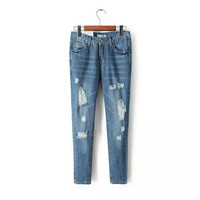 Summer Ripped Holes Denim Pants Jeans [6332308676]