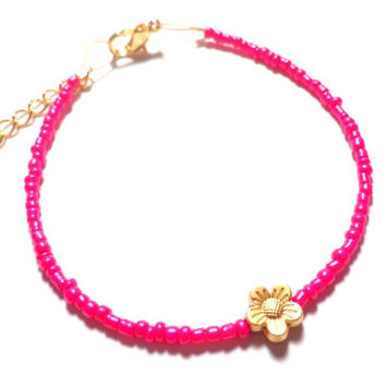 Matte Gold Flower in Pink Bohemian Hippie Friendship Beaded Bracelet