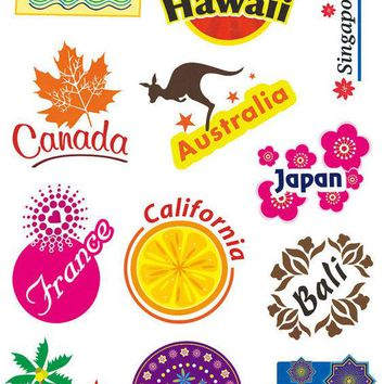 Top Fashion Luggage Travel Stickers for Suitcases Decors Signs Popular Countries Cities to Visit DIY For Better Life Car Sticker