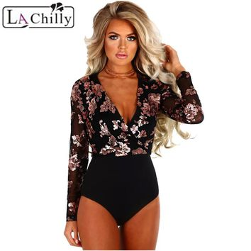 La Chilly One Piece Body Femme Sexy Bodysuit-women Rose Gold Sequin Black Mesh Deep V Neck Long Sleeve Bodysuit Vrouwen LC32173