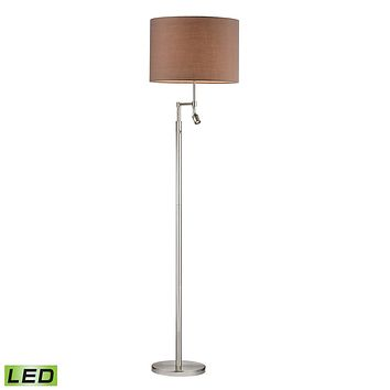 Beaufort LED Floor Lamp in Satin Nickel With Adjustable LED Reading Light