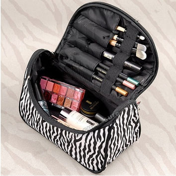Women Makeup Cosmetic Case Toiletry Bag Zebra Travel Handbag Organizer pouch = 1714289604
