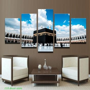 Lesser Bairam Gifts 5Pcs Islamic Shrine The Caaba Landscape Canvas Painting Print Wall Art Picture For Living Room Home Decor