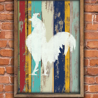 Handmade rooster wooden sign framed out in reclaimed wood.  Approx. 14x20x2 inches.