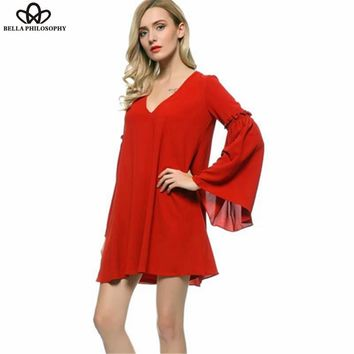 spring and summer new European and American fashion the avant-garde style lantern sleevered loose  red chiffon dress