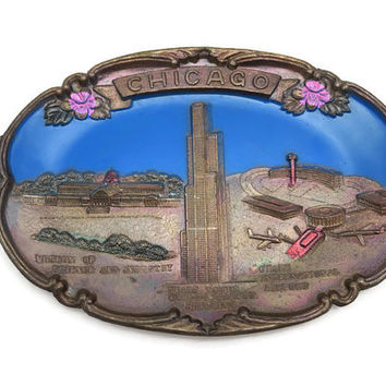 Chicago Souvenir Tray - Sears Tower, Enamel, Japan, 1950s