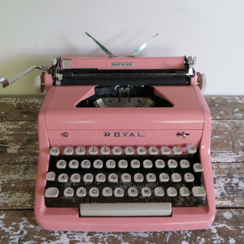 Pink Royal Quiet De Luxe Typewriter Vintage Pink Manual Typewriter