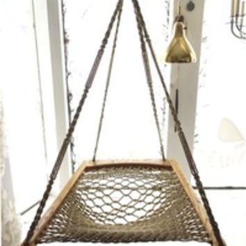 oak macrame woven hanging hammock chair from warymeyers