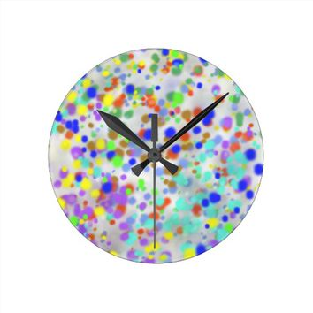 Multicolored paint splatter pattern round wall clocks