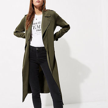 Khaki green belted duster trench coat - Coats - Coats / Jackets - women