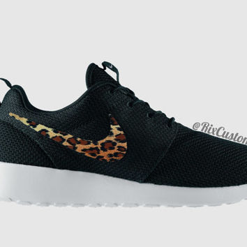 Cheetah Roshe Run Custom Black White Roses