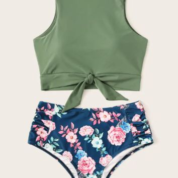 Summer New Fashion Floral Print Vest Two Piece Bikini Swimsuit Women