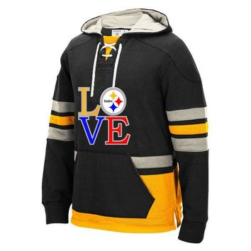 Pittsburgh Winter New Designs Steelers Fans LOVE Logo Style Stitching Sweatshirt, Accept Custom Any Name/Number Hoodies Pullover