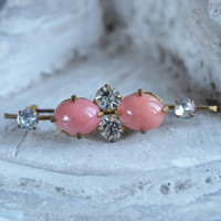 Vintage 30's Brooch Pink Coral Glass and Paste Stones Czech Art Deco Brooch Bar Pin