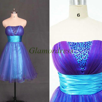 purple tulle and blue satin prom dresses short strapless beaded party gowns with sequins cheap unique homecoming dress hot