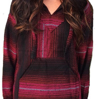 Mexican Threads Baja Hoodie Drug Rug Pullover Sweatshirt / Gypsy Jacket / Hippie Poncho Wine Pink Red S-XL